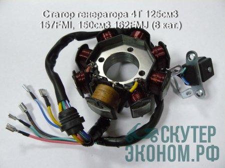 Статор генератора 4Т 125см3 157FMI, 150см3 162FMJ (8 кат.)