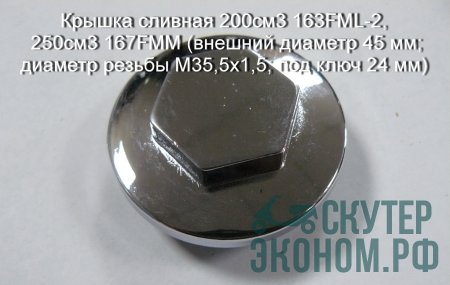 Крышка сливная 200см3 163FML-2, 250см3 167FMM (внешний диаметр 45 мм; диаметр резьбы M35,5x1,5; под ключ 24 мм)